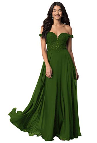 Women's V Neck Off The Shoulder Chiffon Formal Dress Long Prom Ball Gown Lace Bodice Olive Green Size 24