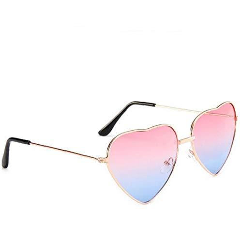 1pc a Forma di Cuore della Montatura Sole Sottile di Metallo Occhiali Sole Trasparenti di Colore della Caramella Occhiali Chic Eyewear Fancy Regalo per Le Donne Ragazze (Gradiente di Colore
