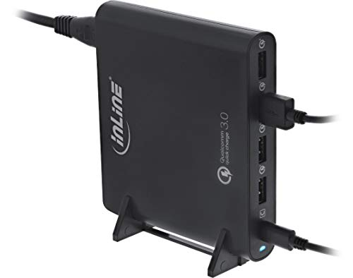 InLine 31510S Quick Charge 3.0 USB Notebook-Netzteil, Ladegerät, 4x USB A + USB Typ-C, 80W, schwarz
