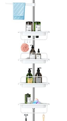 ALLZONE Rustproof Shower Caddy Corner for Bathroom,Bathtub Storage Organizer for Shampoo Accessories,4-Tier Adjustable Shelves with Tension Pole,56 to 113 Inch, White