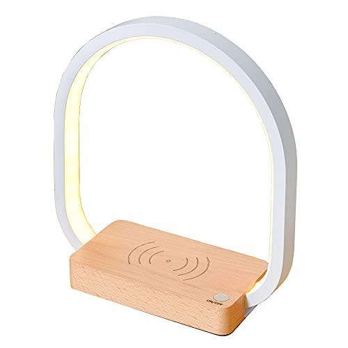 Lámparas Mesita de Noche Carga Inalambrica Lámpara de Mesa Pequeña Creativa LED Moderna Luces de Escritorio Luz de Lectura para el Dormitorio Sala de Estar Oficina