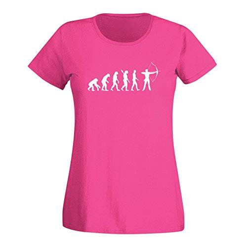 T-Shirt Evolution Bogenschütze Kyudo FITA Robin Hood 15 Farben Damen XS - 3XL IFAA DBSV Sport 3D-Schießen Langbogen Zielscheibe Pfeil Jagd, Größe:2XL, Farbe:pink/Fuchsia - Logo Weiss