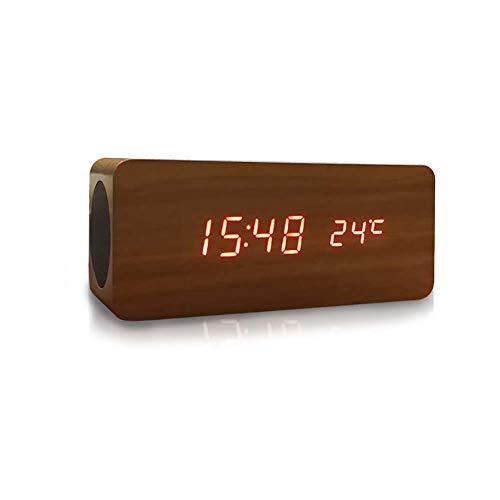 Haut-Parleur Bluetooth sans Fil 4.2 6w Accueil Mini BoîTe à Musique Portable Subwoofer + Horloge + Double Disque Compatible avec Les Tablettes De Smartphones pour Voiture, Voyage en Plein Air Marron