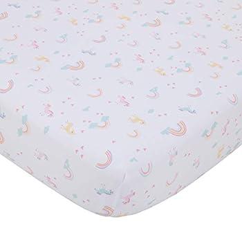 NoJo Fitted Crib Sheet Rainbow Unicorn Pink/Aqua/Yellow/White