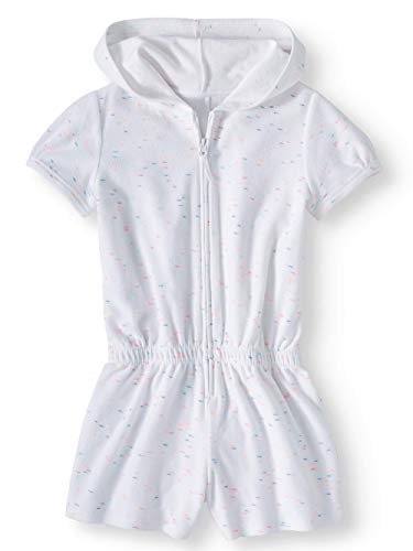 Wonder Nation Girls Hooded Romper Zip Front Terry Swimsuit, White, Size 6 / 6X
