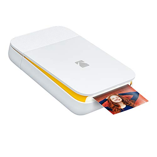 Kodak Smile Fotoprinter voor smartphone (IOS & Android) - Inkloze directe printer, Bluetooth, 5 x 7,6 cm afdrukken, geïntegreerde batterij, Smile-printer, wit/geel, 2xx3