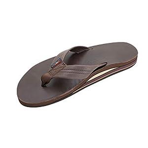 Rainbow Sandals Men's Premier Leather Double Layer with Arch Wide Strap, Classic Mocha, Men's Small/Men's 7.5-8.5 B(M) US