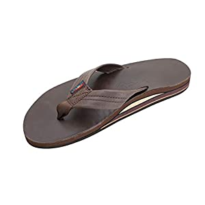 Rainbow Sandals Men's Leather Double Layer with Arch Wide Strap