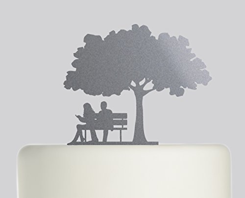 Bride And Groom Couple on Bench under Oak Tree wedding cake topper Acrylic Cake Topper - Silver Sparkle Acrylic