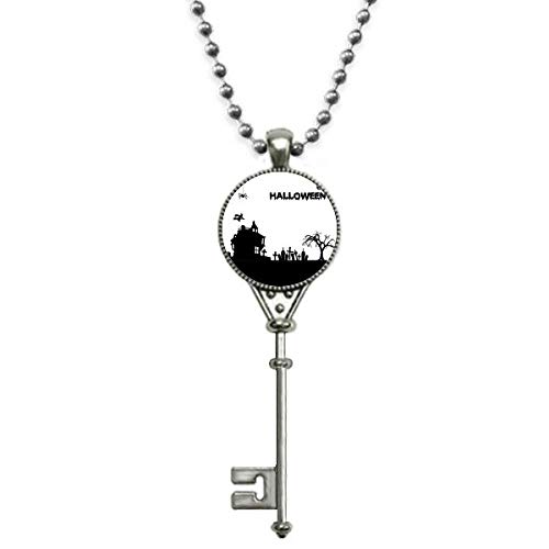 Beauty Gift Colar vintage com pingente de fantasma feliz e medo de Halloween para chaves de prata