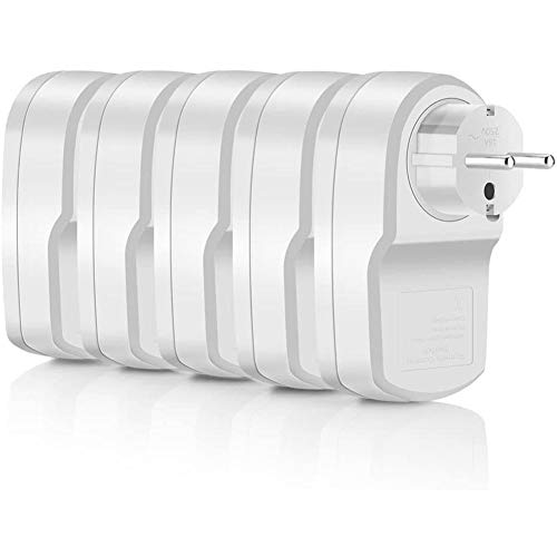 Gugxiom Enchufe Remoto Inteligente ES9939F, Enchufe de Salida WiFi Control Remoto 2 Arrastre 5 enchufes Inteligentes de Control de Largo Alcance Blanco para Control Remoto