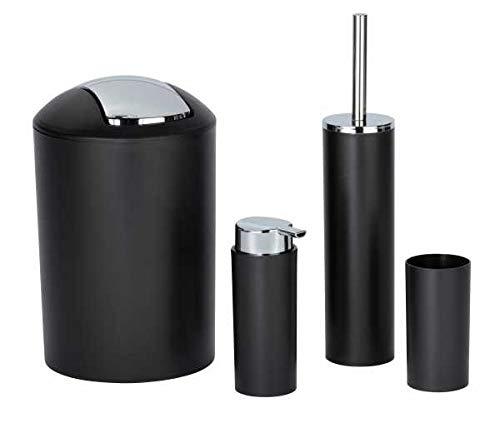 WENKO Badezimmer-Toiletten-Set Calvo 4-teilig mit Seifenspender Zahnputzbecher WC-Bürste und Eimer Schwarz mit Chrom Details