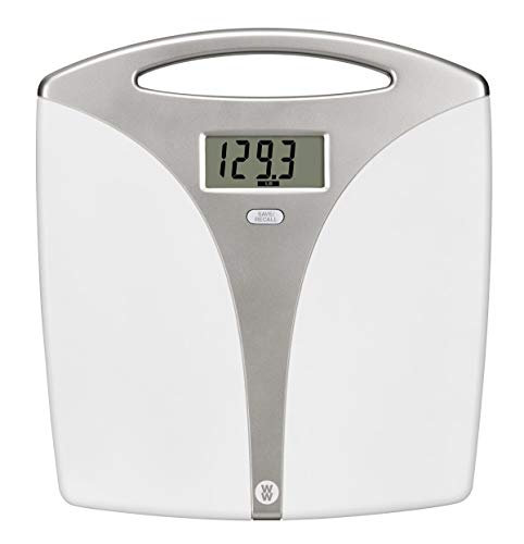 WW Scales by Conair Portable Precision Plastic Electronic 5 Weight Tracker Bathroom Scale, 400 Lbs. Capacity, White Carry Handle