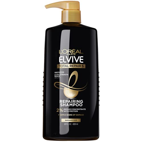 L'Oreal Paris Elvive Total Repair 5 Repairing Shampoo for Damaged Hair Shampoo with Protein and Ceramide for Strong Silky Shiny Healthy Renewed Hair 28 Fl Oz