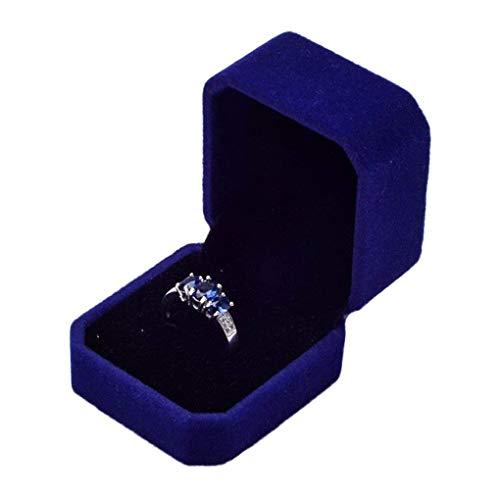 Fayme Anillo de compromiso, anillo de boda, pendientes, caja de regalo, caja de joyería, caja de almacenamiento, color azul zafiro