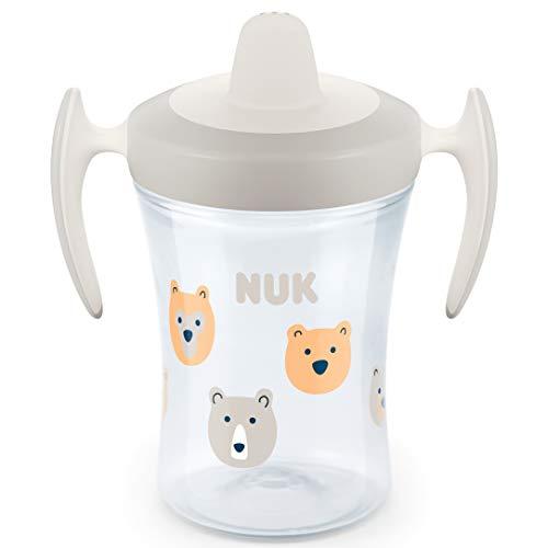 NUK Trainer Cup biberon, bocchetta morbida, ermetico, 6+ mesi, senza BPA, 230 ml, orso (trasparente)