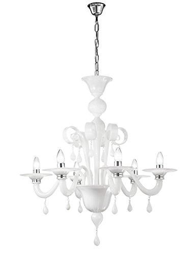 Rossini Illuminazione A. 10470-40-LED Lampadario in Vetro Murano E14, 42 W, Bianco, alogena, vetro;vetro soffiato