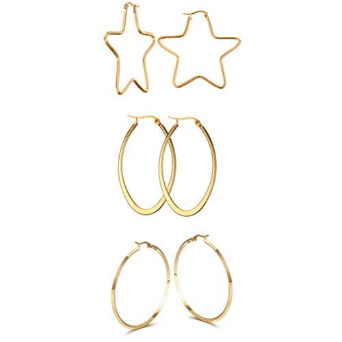 Oidea Orecchini Donna acciaio inox forma Stella Ovale Grande Anello esagerati Hollow vuoti oro(3 coppie)