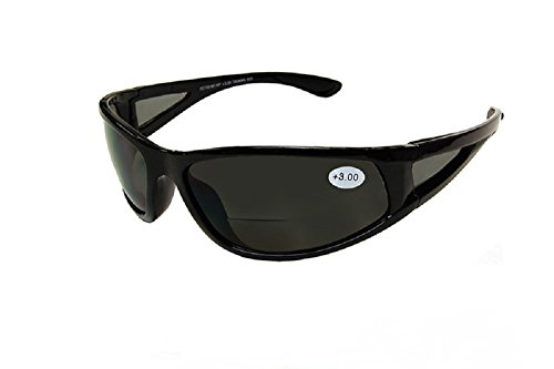 Pink Ribbon Shades Sports Wrap Nearly Invisible Line Bifocal Sunglass Readers 1.50, Black, Large