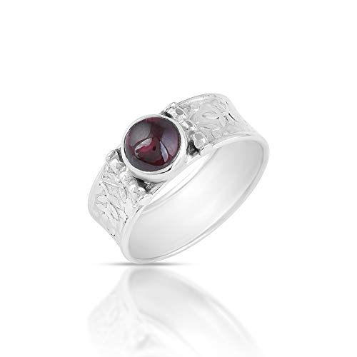 Natural Red Garnet January Birthstone 925 Sterling Silver Statement Band Ring for Women Jewelry Sz-P 1/2