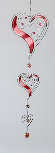 formano Moderner Dekohänger Hängedeko Fensterdeko Tiffany 3 Herzen rot Silber, 58 cm