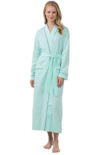 PajamaGram Womens Robes Long Soft - Women Robe Classic Cotton, Mint, Large 12-14