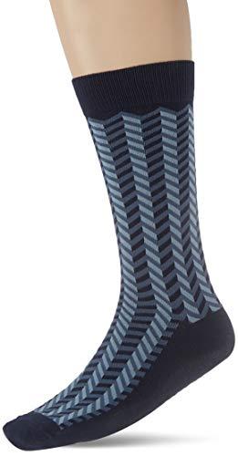 Cortefiel Calcetin Geometrico, Azul (Navy 10), Talla Unica para Hombre