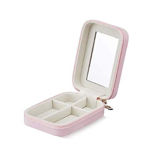 swqiy GYDSSH Small Jewelry Box Faux Leather Travel Organizer Display Storage Case with Mirror Great Gift for Women (Color : Pink)