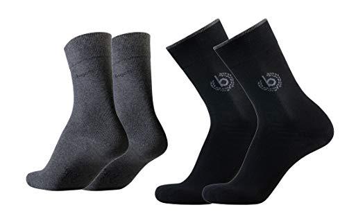 bugatti Herren 4er Pack Logo + uni basic schwarz, jeans melange, Size:43-46, Farben:black