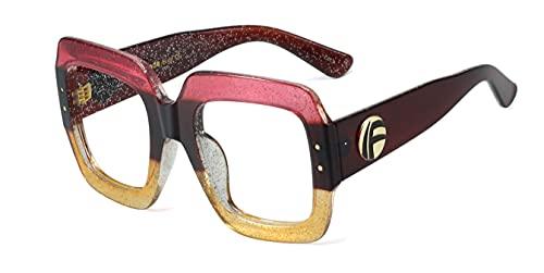 XKMY Marco de gafas de gafas antiluz azul de gran tamaño, marco cuadrado grande, lente transparente, marcos transparentes vintage (color del marco: rojo y amarillo)