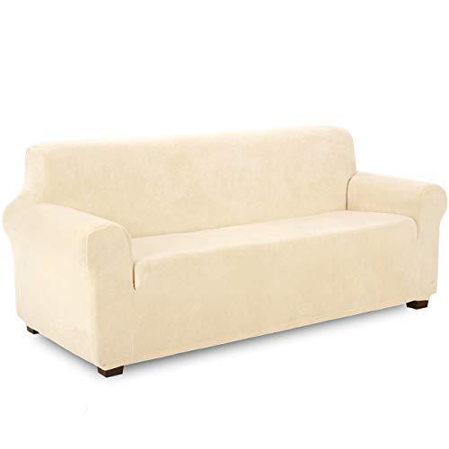 TIANSHU Samt Sofabezug 3 sitzer,Soft Velvet Plush Couchbezug stilvolle Luxus-Möbelbezüge Anti-Rutsch-High Stretch Sesselbezug(3 Sitzer,Beige)