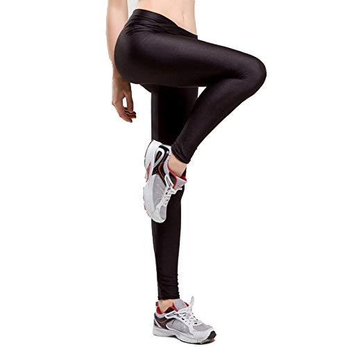 TYXQ Mujer Leggings Cintura Alta Cintura En Forma V Leggings Levantamiento De Cadera Pantalones De SalóN De Luz Fluorescencia Colores,Negro,S