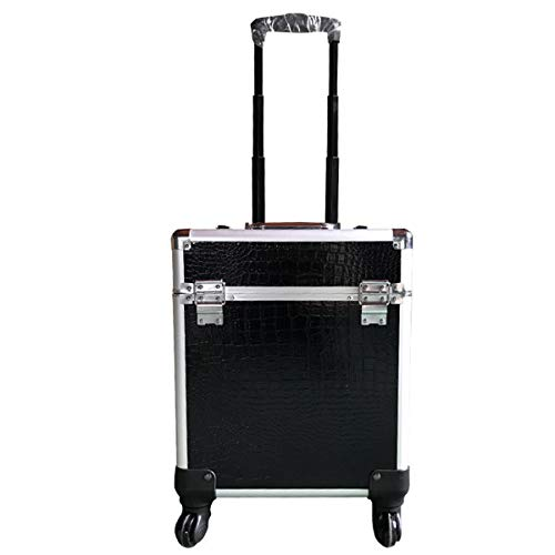 fosa1 Hand Luggage Trolley case High-fibre Board + PU Crocodile Pattern Cosmetic Storage Box, Large-capacity Trolley Cosmetic Case Multi-layer Portable Tattoo Cosmetic Case (Color : Pink)