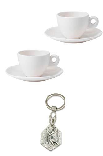 Zisa-Kombi Espressotassen-Set aus Melamin, Edelweiß (932988917094) mit Anhänger Herz Jesu 2,5cm