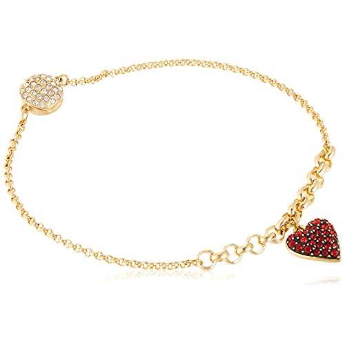 Swarovski Strand Remix Collection Heart, Rosso, Placcato Colore Oro