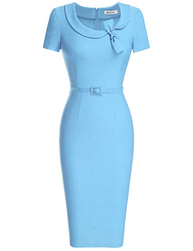 MUXXN Lady Formal Bowknot Neckline Empire Waist Bridesmaid Light Blue Midi Dress (Airy Blue XL)