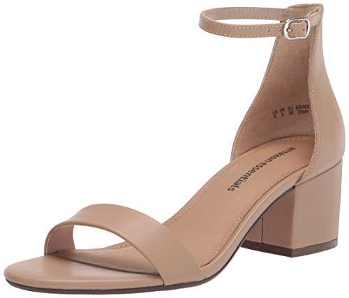 Amazon Essentials Women's Nola Heeled Sandal, Beige PU, 6 B US