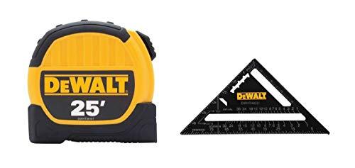 dewalt measuring tapes Dewalt DWHT46107 7in. Premium Rafter Square and 25ft. Tape Measure Combo Pack