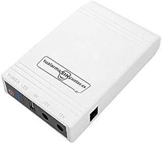 Mini-omvormer UPS/SAI met hoge capaciteit en 5 V + 12 V uitgangen geschikt voor routers, camera's, alarmsystemen enz.