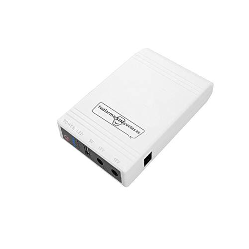 Mini UPS o Mini SAI con batería Interna de Gran Capacidad y Salidas 5V+12Vx2. Válido para routers, cámaras, alarmas, etc