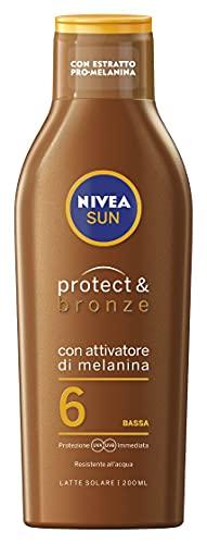 Nivea Latte Solare Abbronzante Protect e Bronze Fp6, 200ml