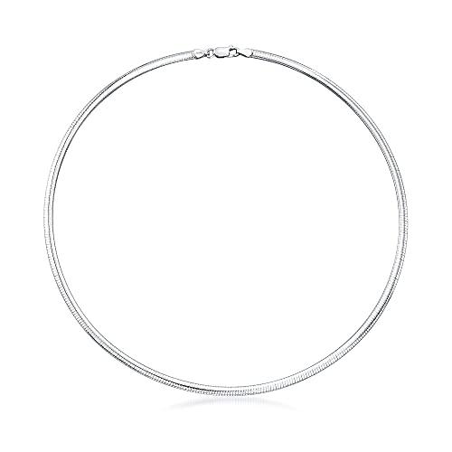 Ross-Simons Italian 4mm Sterling Silver Domed Omega Necklace
