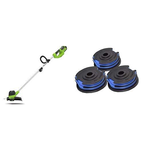 Greenworks G40LT Akku-Rasentrimmer 40V 30cm und 3 Stück Doppel-Fadenspule - ohne Akku und Ladegerät