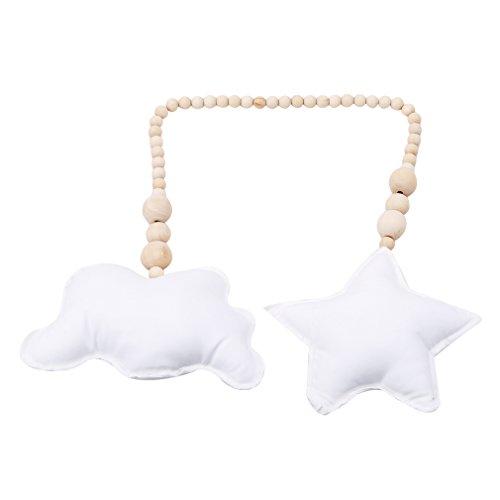 L_shop Moon Star nordischer Stil Perlen Anhänger Exquisite Holzperlen Mond Sterne Kids Infant Krippe Cradle Wandbehang Ornament Foto Requisiten,Weiße Wolken Weiße Sterne,31.2 * 5.07inch