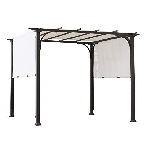 Sunjoy A106005500 Diego 8x8 ft. Steel Classic Pergola with Adjustable Shade, White