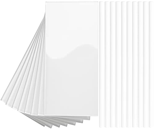 """DICOFUN 72-Piece Peel and Stick Glass Tile, 3"""" x 6"""" Self Adhesive Subway Glass Backsplash Tile for Kitchen and Bathroom, Bright White (Including Tile Trim)"""