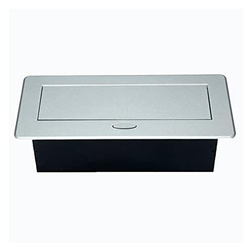 QiKun-Home Mesa de enchufes de Escritorio 3 Enchufe de la UE Tapa de aleación de Aluminio emergente Lenta Enchufe de Escritorio para Sala de reuniones Multimedios Negro EU 118x266mm