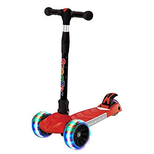 QIXIAOCYB Scooter de la scooter de la música brillante colorida para los niños del scooter del niño pequeño con la altura ajustable plegable ilumina para arriba 3 ruedas rosa (Color : Red)