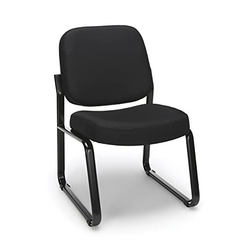 OFM Fabric Guest and Reception Chair, Armless, Black