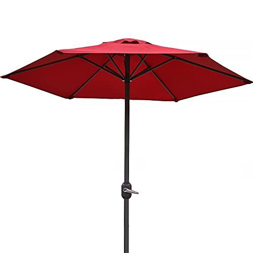 Lqdp Sombrilla Sombrilla Redonda Blanca para Patio, sombrilla de jardín con protección Solar de 2,0 m con manivela y 6 Varillas, sombrilla para jardín Junto a la Piscina (Color : Red)